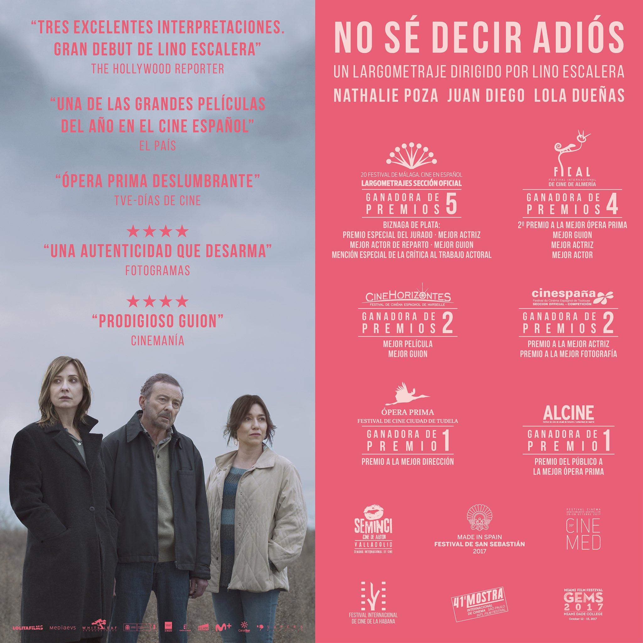 """Affiche du film Horizon d'or 2017 """"No sé decir adiós"""" de Lino Escalera. Sur l'affiche est présent le logo de CineHorizontes 2017 avec la mention """"ganadora de 2 premios Mejor Película Mejor Guion"""""""